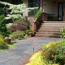 Stone and gravel path and front yard landscaping